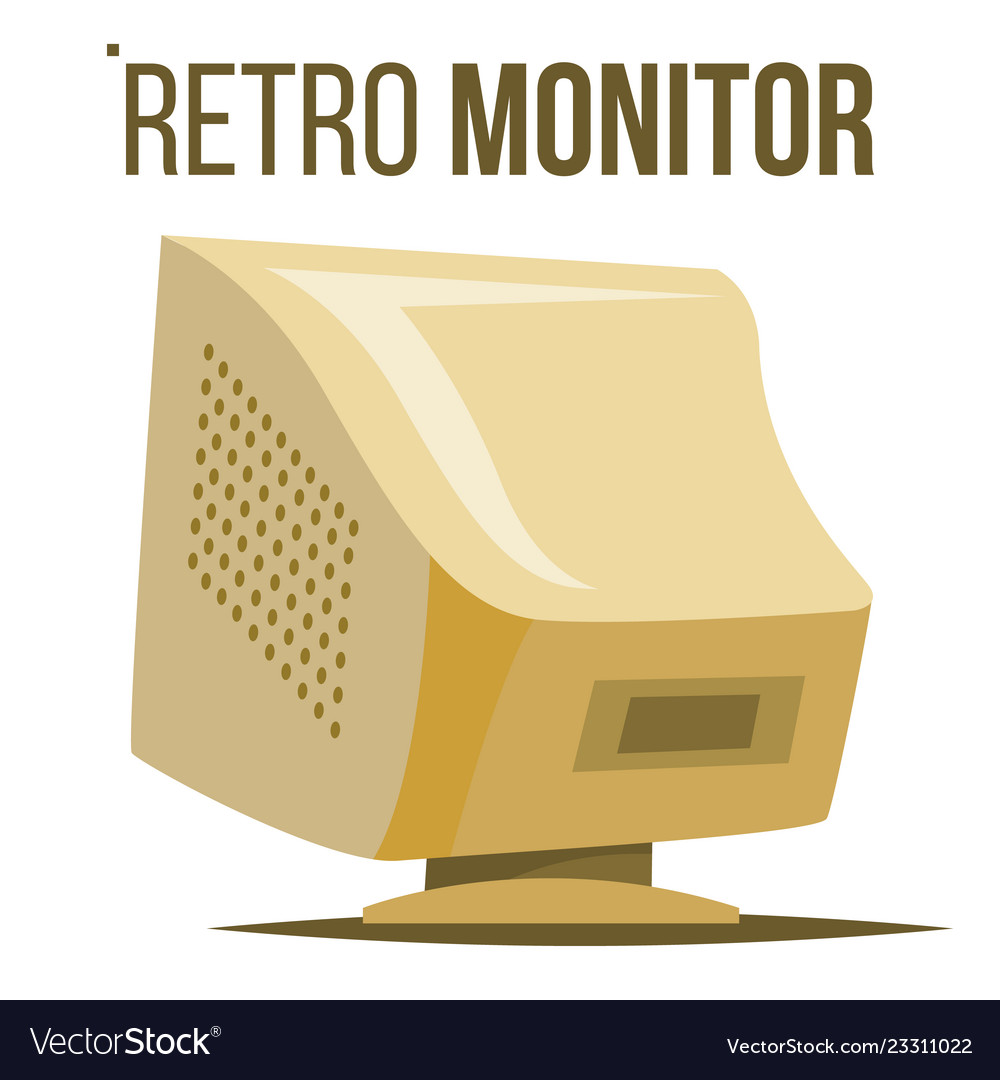 Retro computer monitor old classic desktop