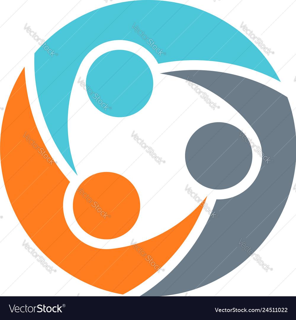 Teamwork group of three people logo