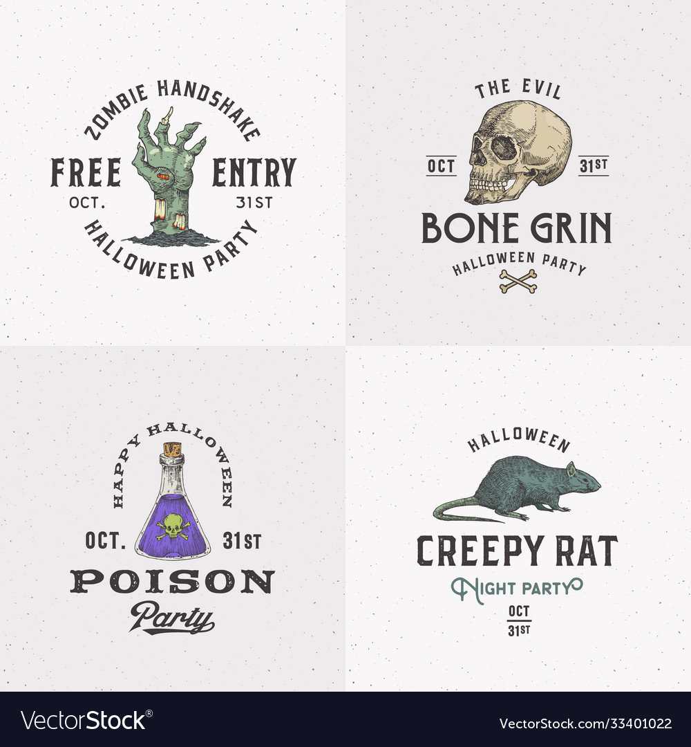 Vintage style halloween logos or labels template