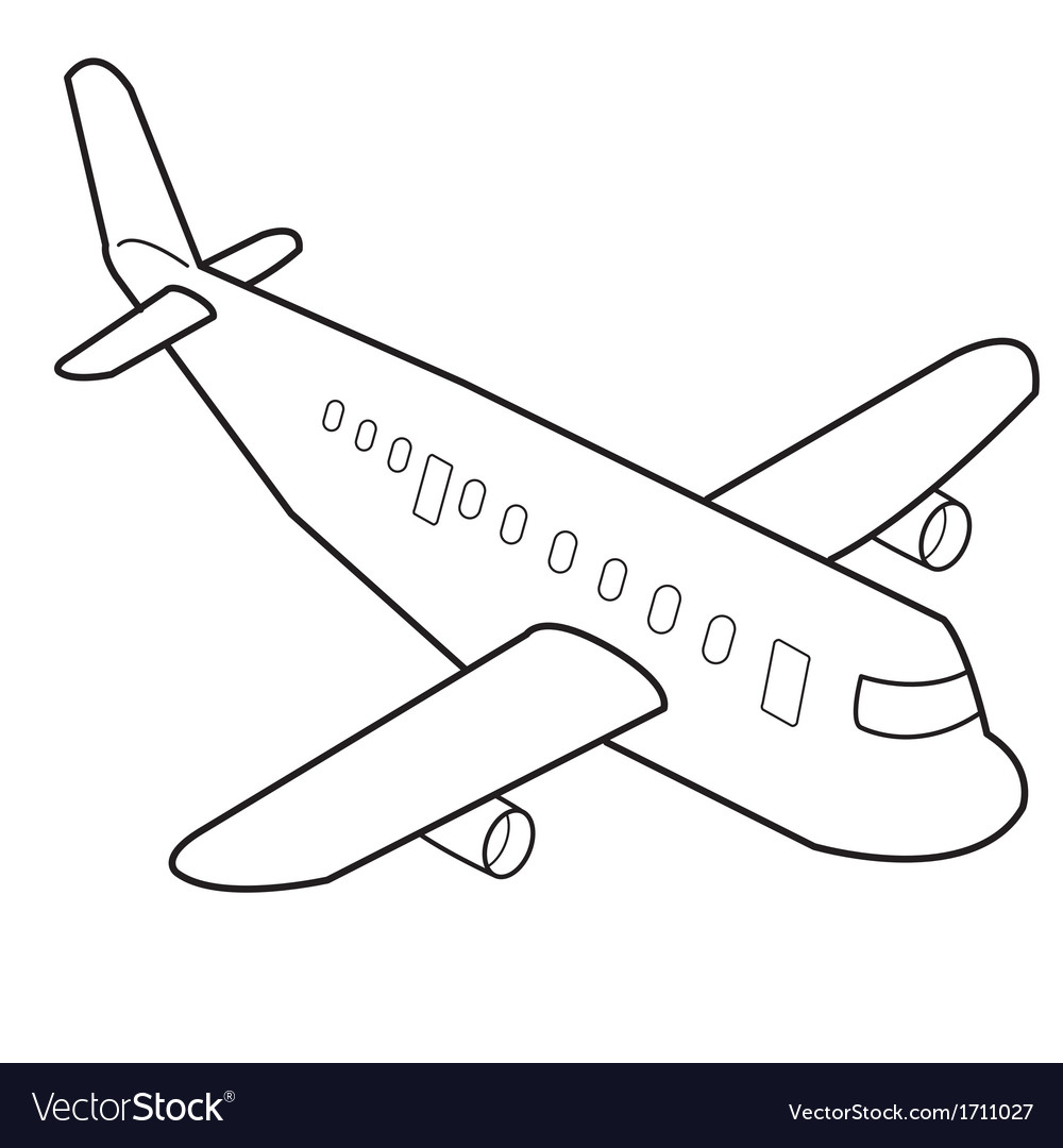 Airplane cartoon outline Royalty Free Vector Image