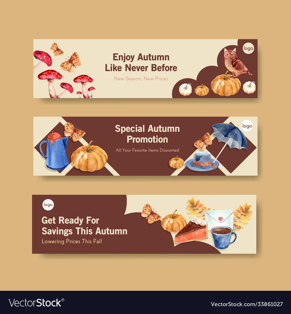 Banner template with autumn daily concept design