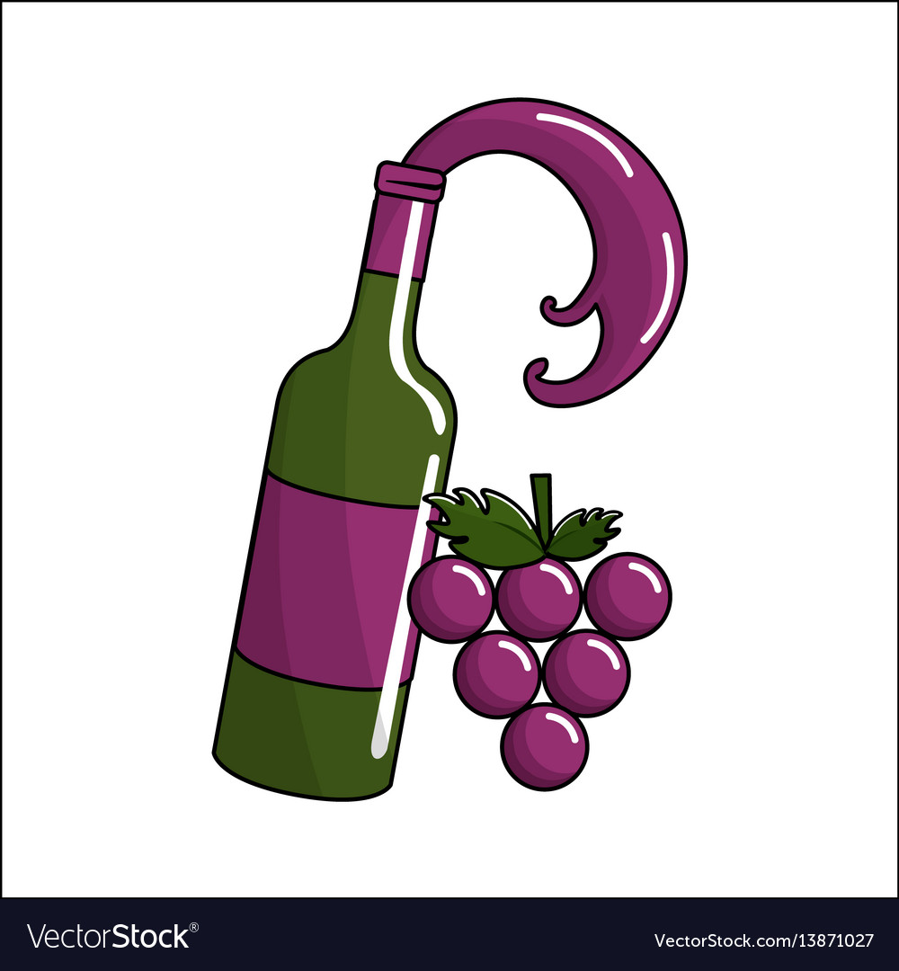 Bottle splashing wine with bunch grapes icon
