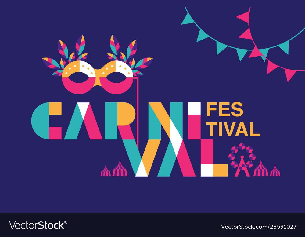 Carnival typography popular event in brazil