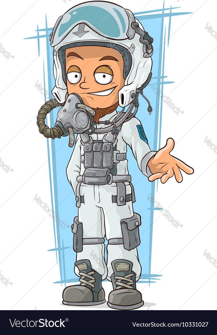 Cartoon pilot in cool white helmet vector image
