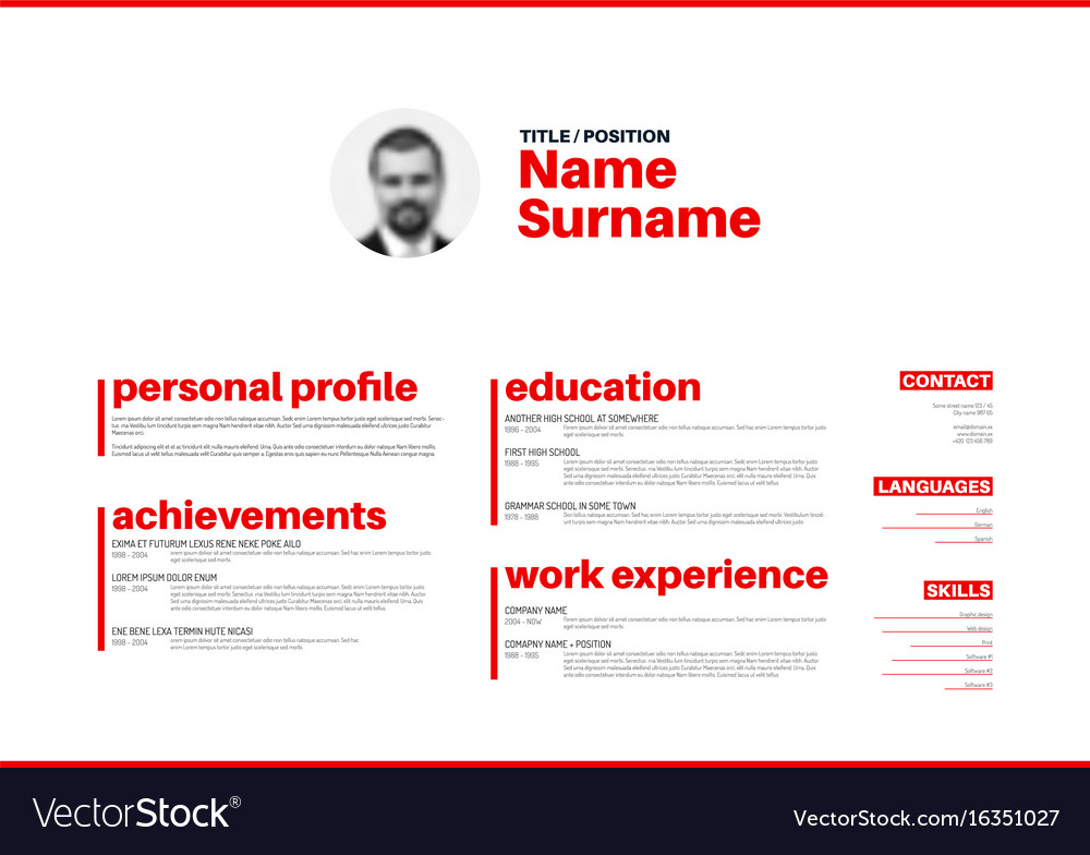 Cv Resume Template With Nice Typography Royalty Free Vector. Cv Resume Template With Nice Typography Vector. Resume. Resume Typography At Quickblog.org