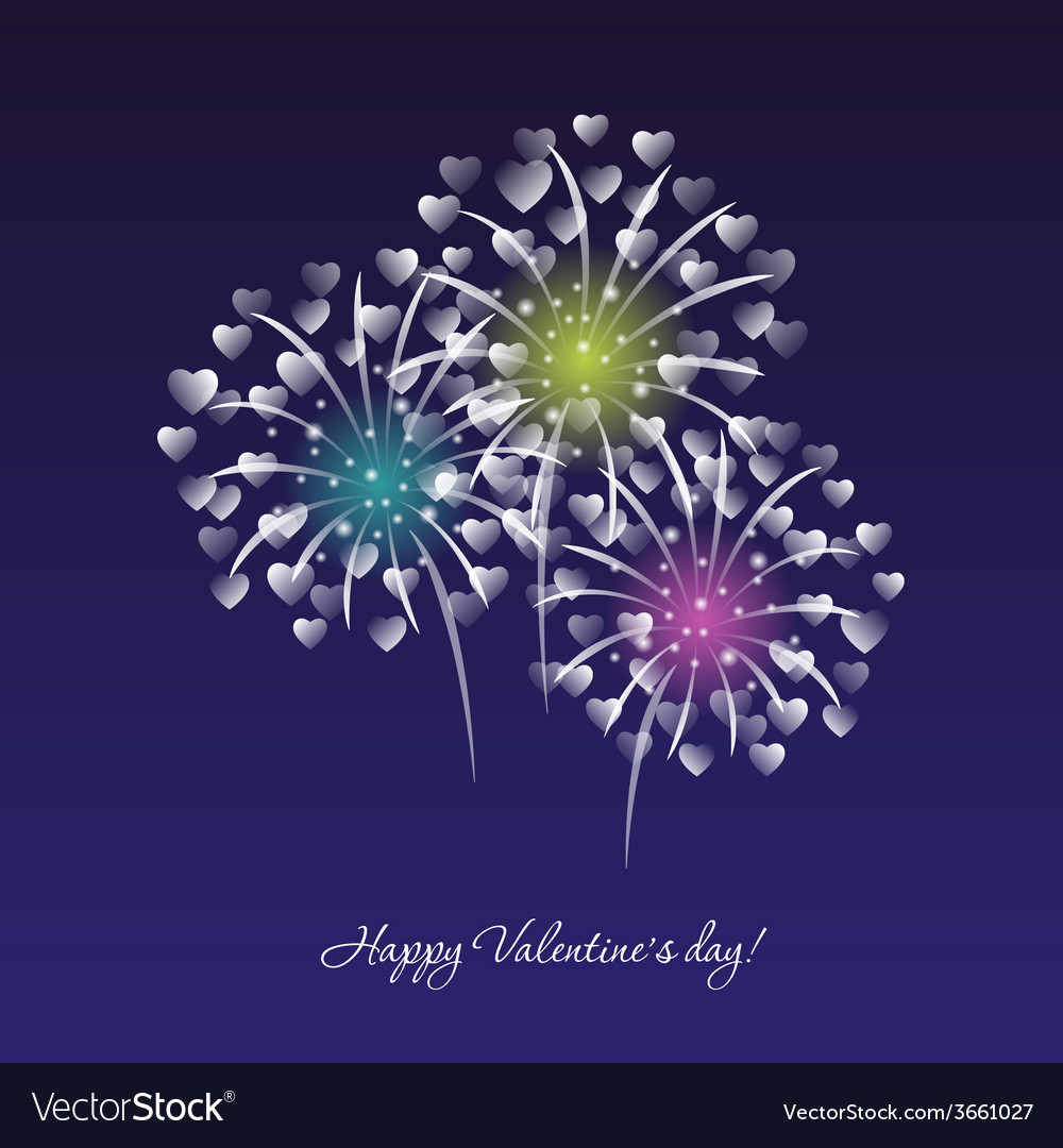 Fireworks on a dark blue sky background
