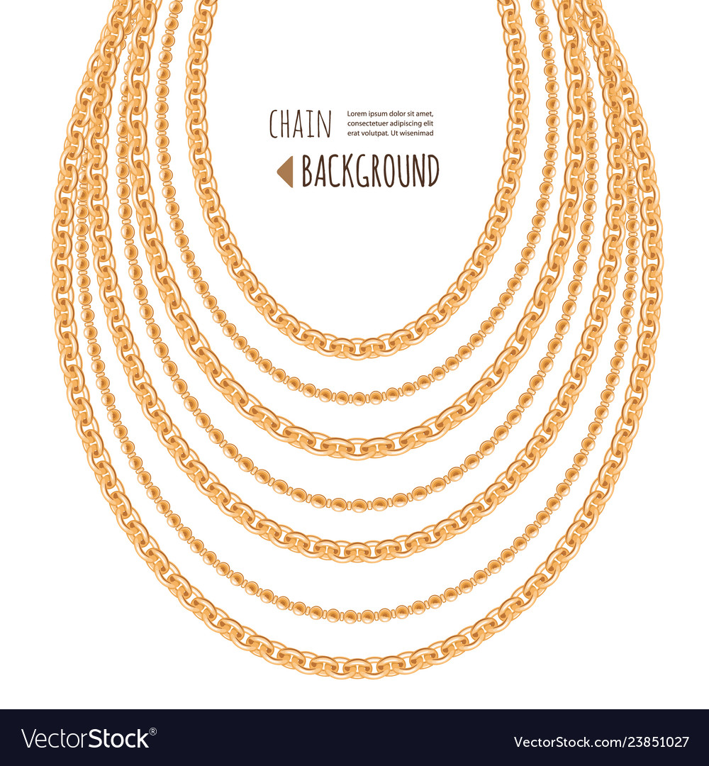 Gold chains necklace abstract background jewelry