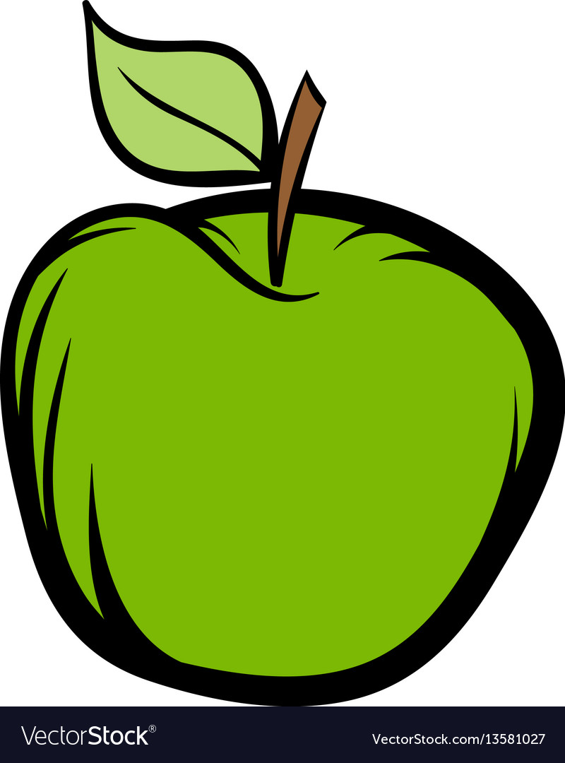 Green apple icon cartoon