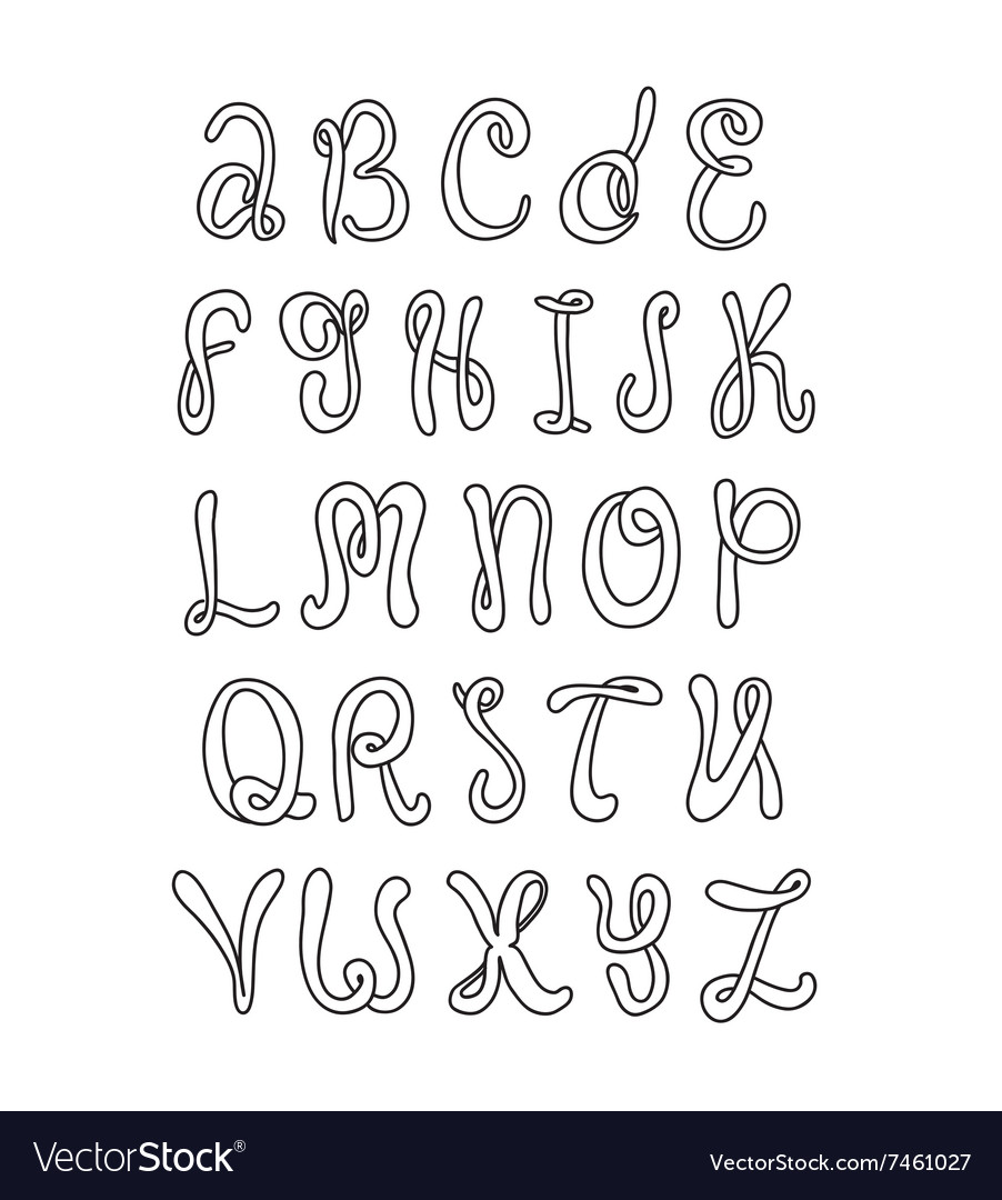 Hand drawn alphabet Doodle letters set Black