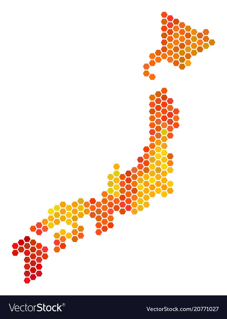 Hot hexagon japan map