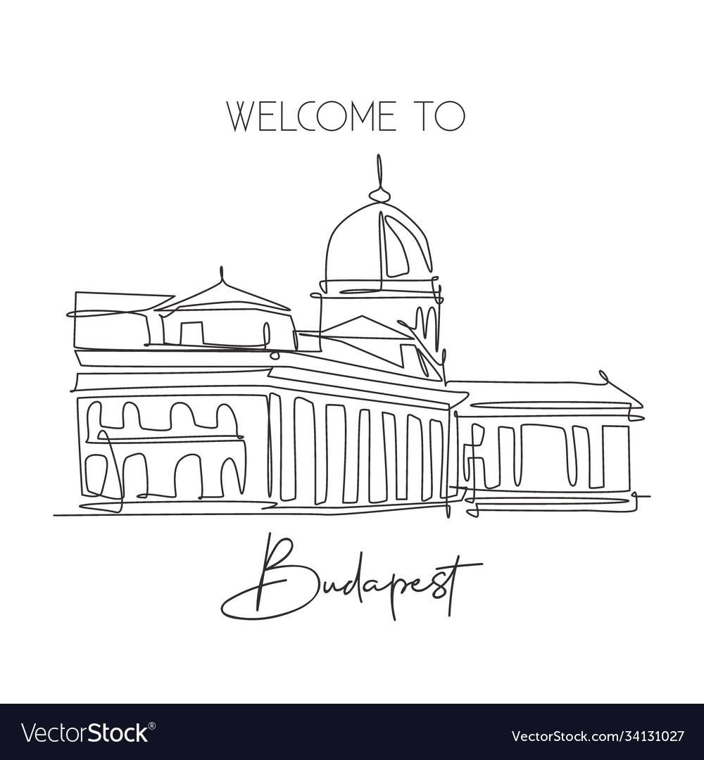 One single line drawing buda castle landmark