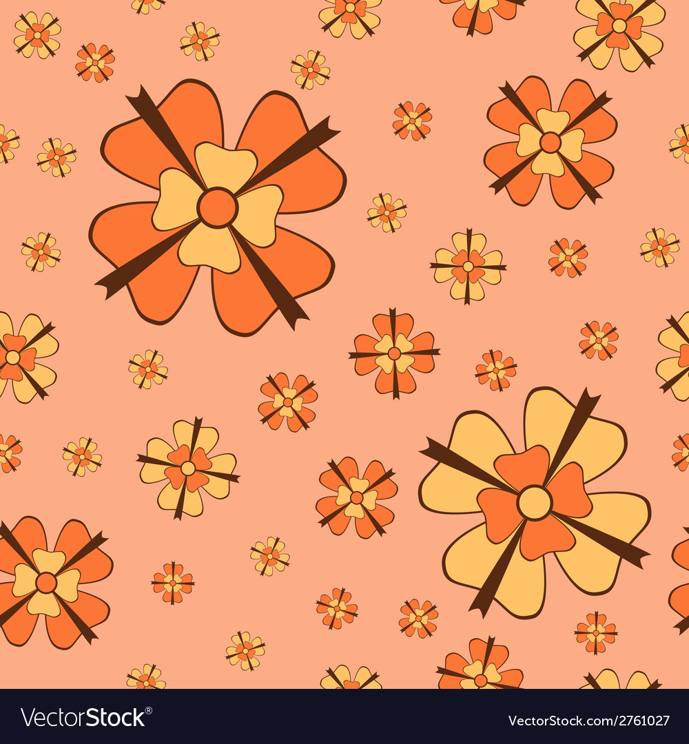 Orange flowers with bows seamless pattern vector image
