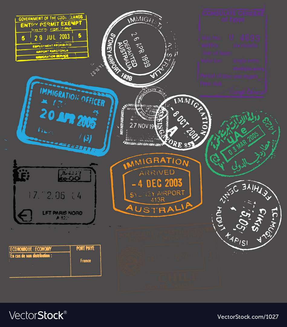 Passport stamps vector image