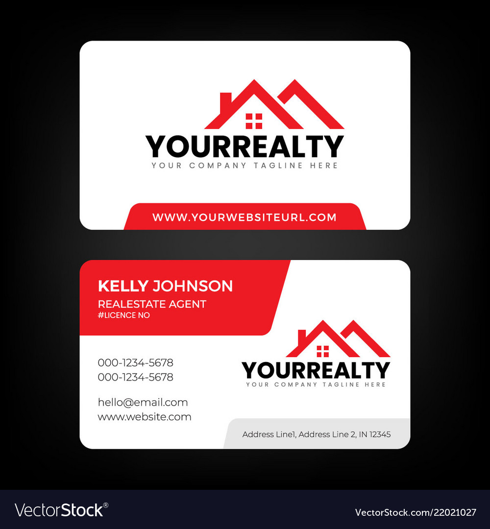 real estate business card and logo template vector image