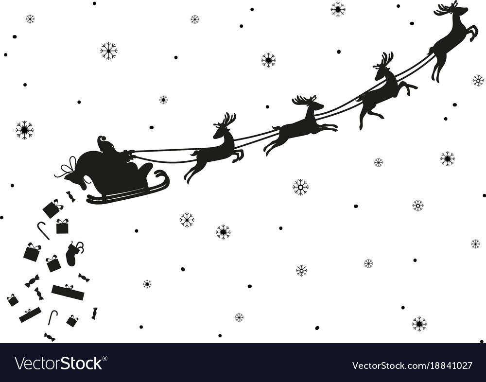 Santa claus flying with deer silhouette