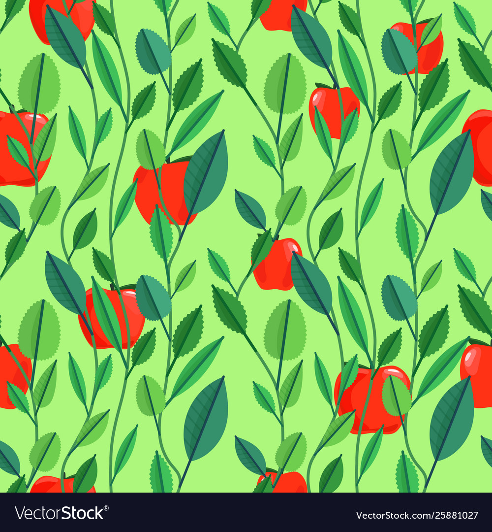 Seamless pattern with green leaves and fruits