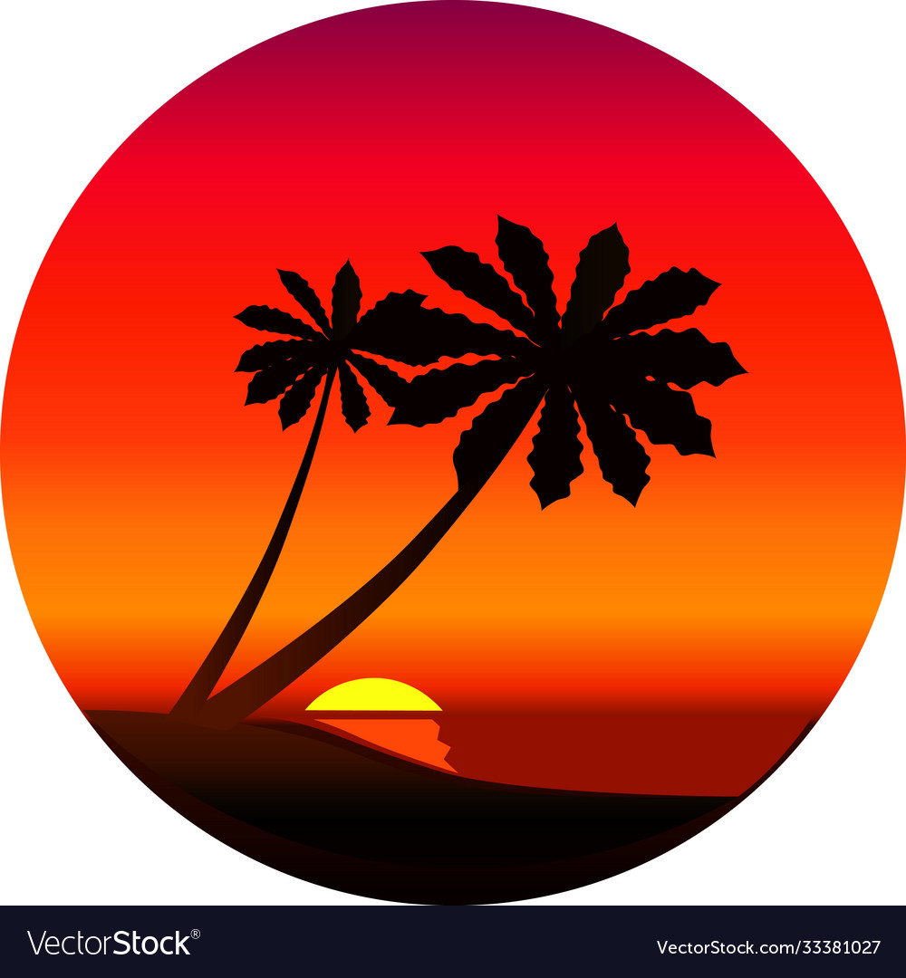 Silhouette a palm trees at sunset