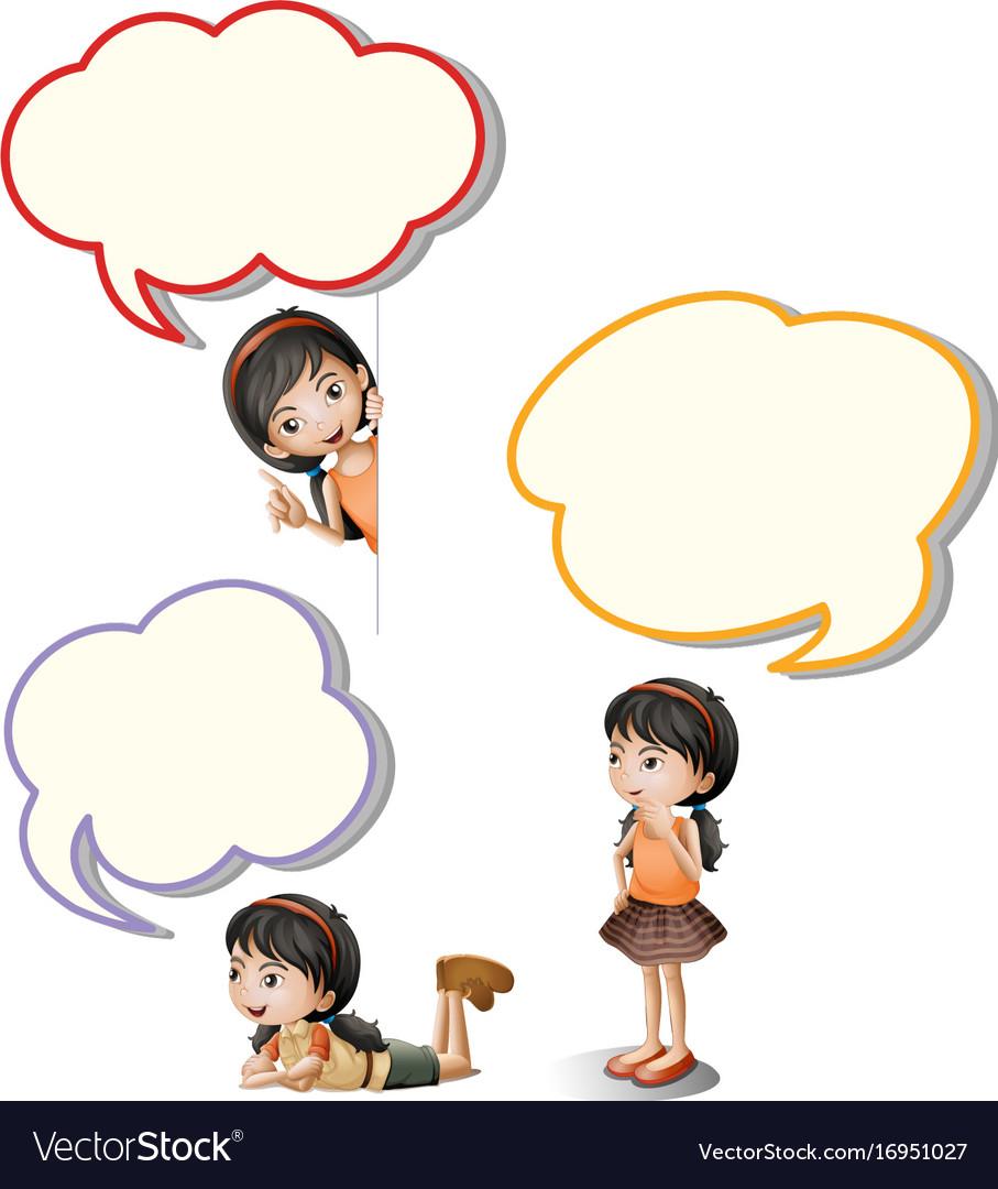 Speech bubbles and little girl