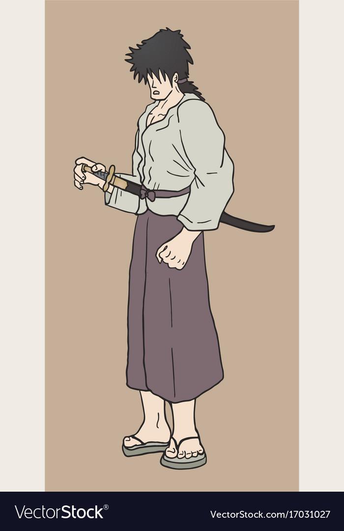 Vintage samurai vector image