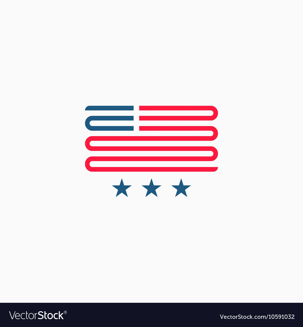 American flag logo red and blue ribbon design