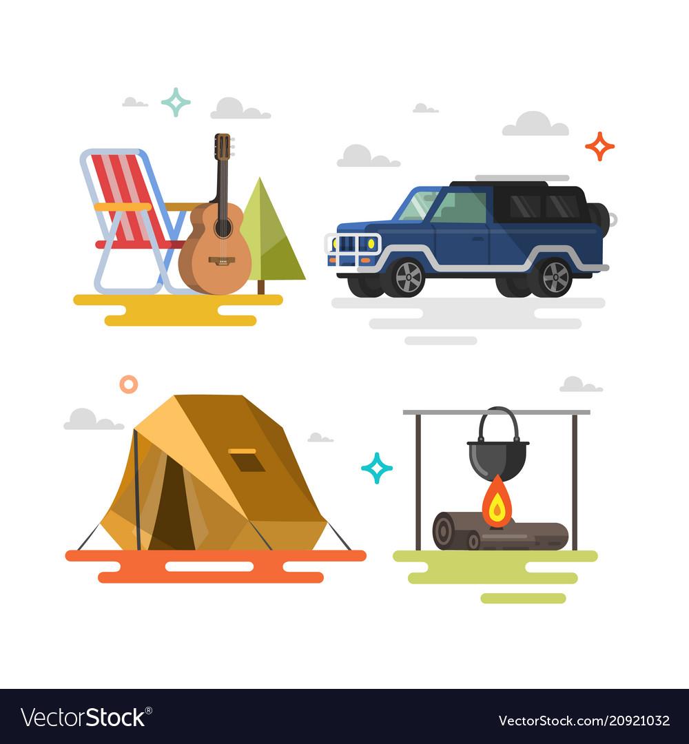 Camping set of camping equipment symbols