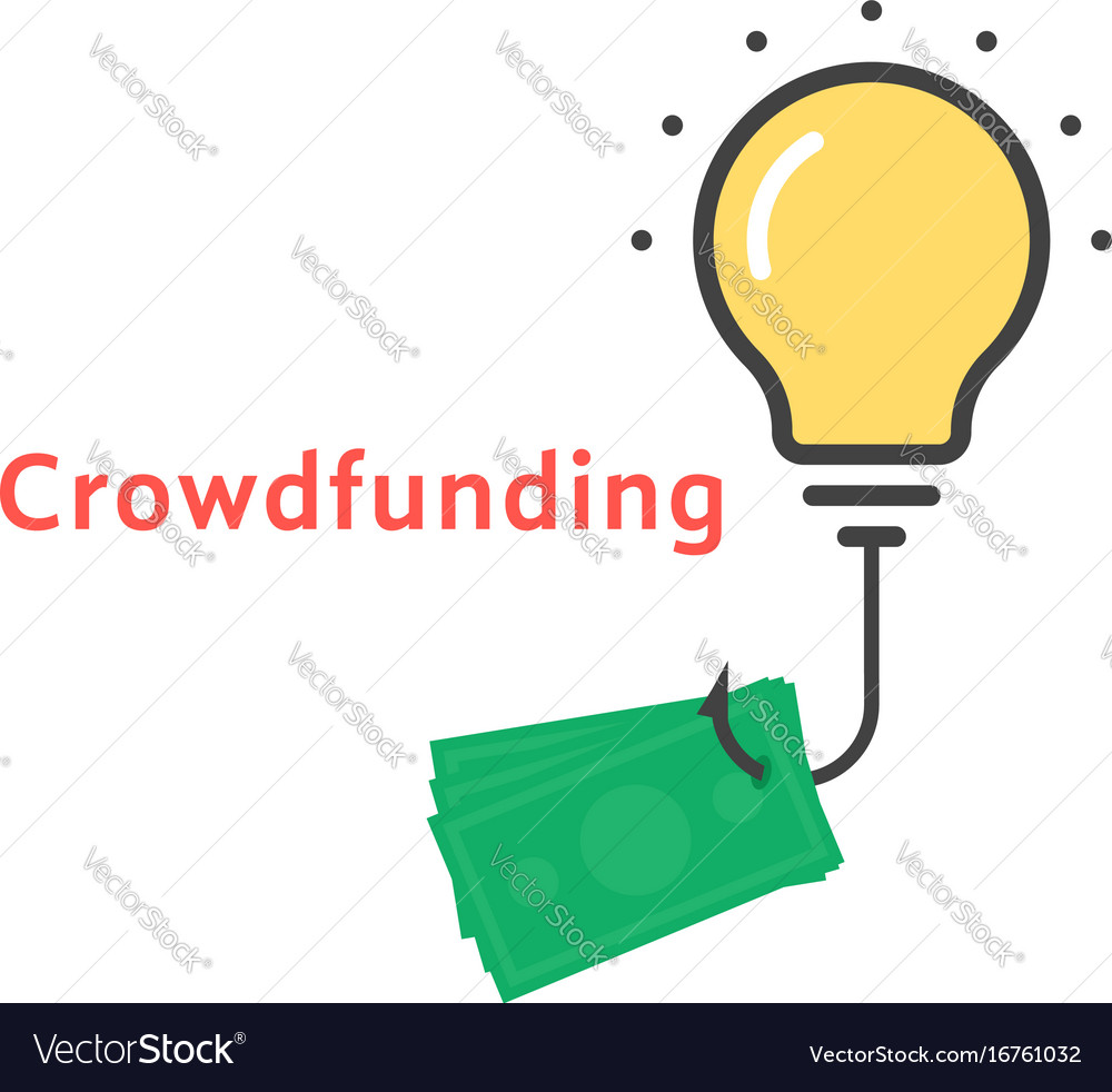 crowdfunding icon with outline bulb royalty free vector