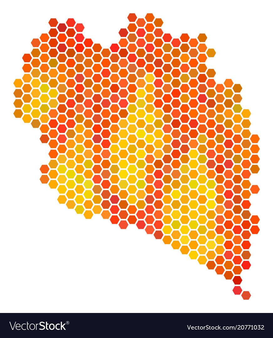 Koh Phangan Thailand Map.Fired Hexagon Koh Phangan Thai Island Map Vector Image