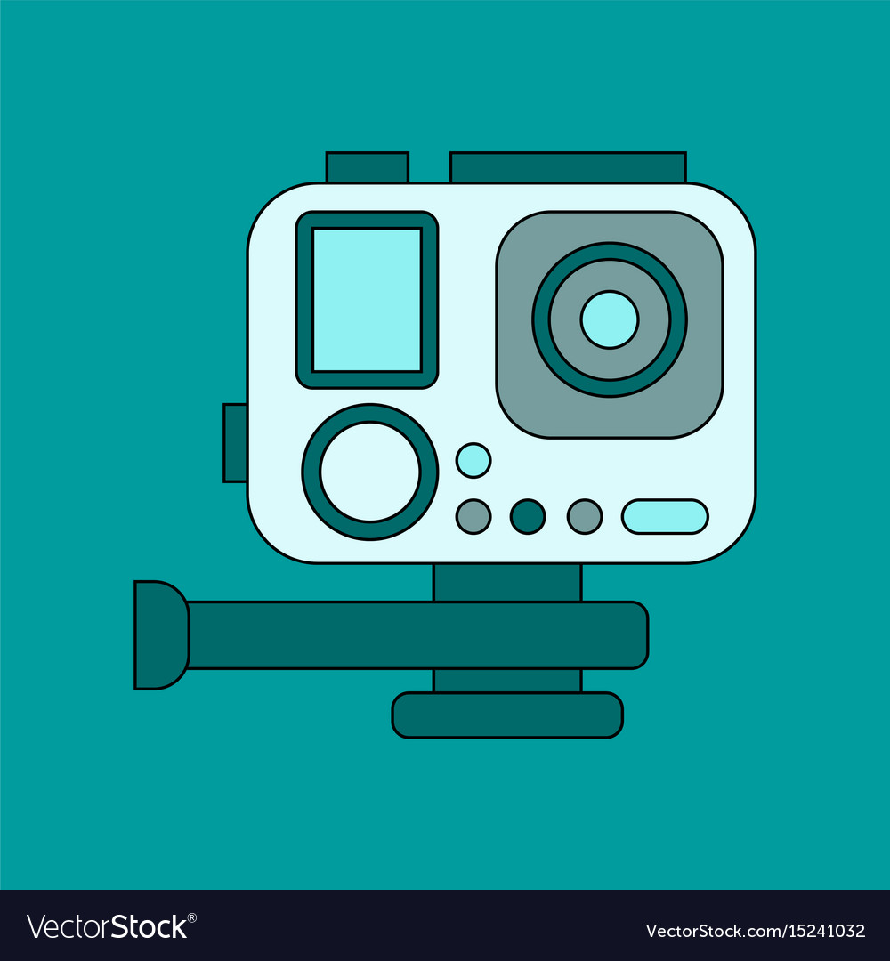 Flat icon on background camcorder