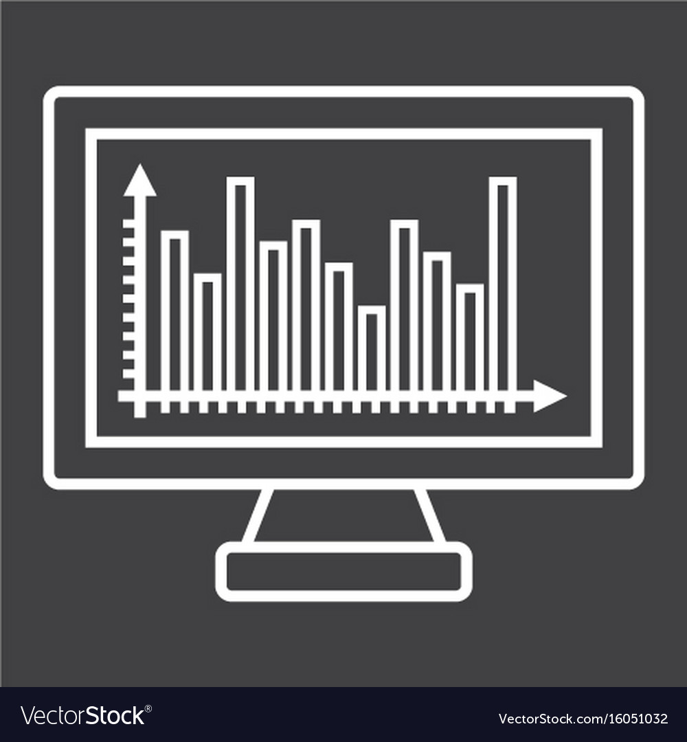Monitor chart line icon business and graph