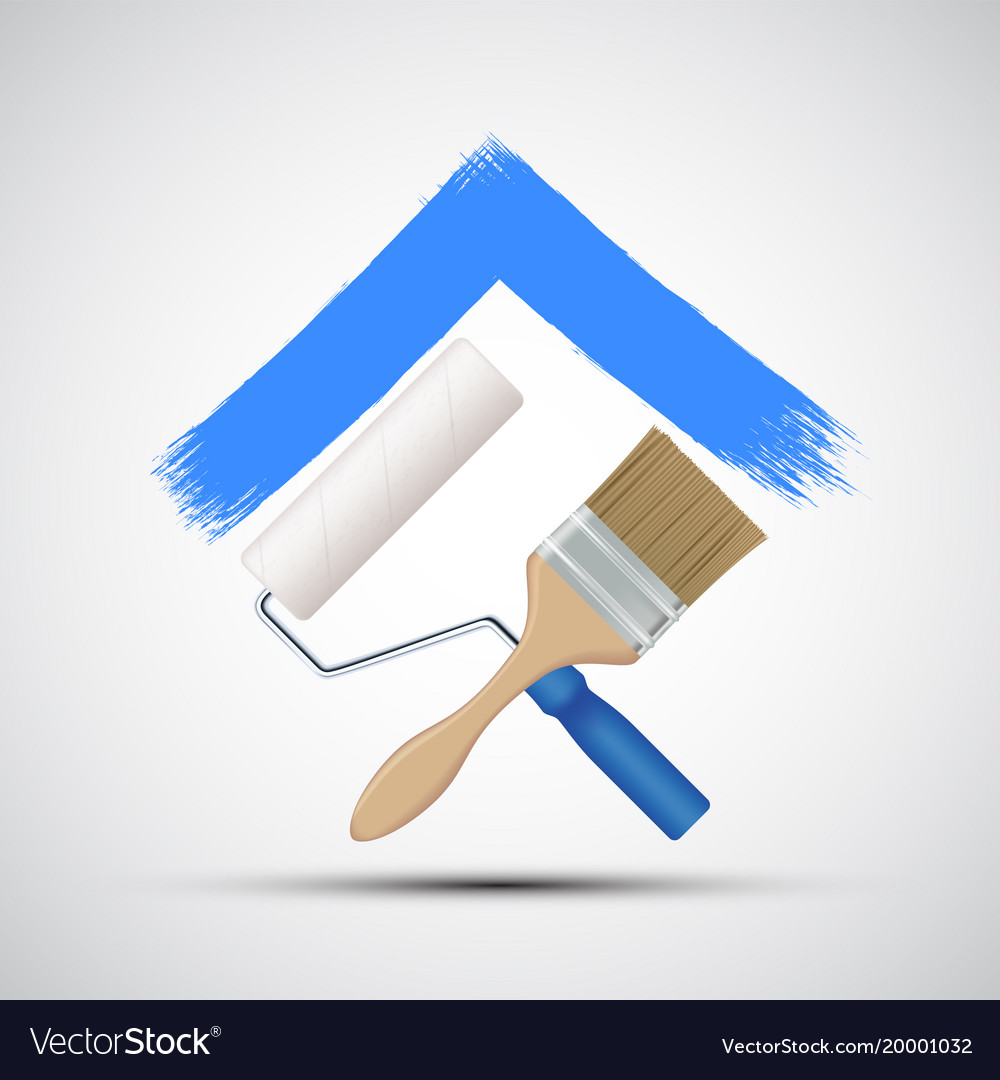 Paint roller and paintbrush icon construction vector image