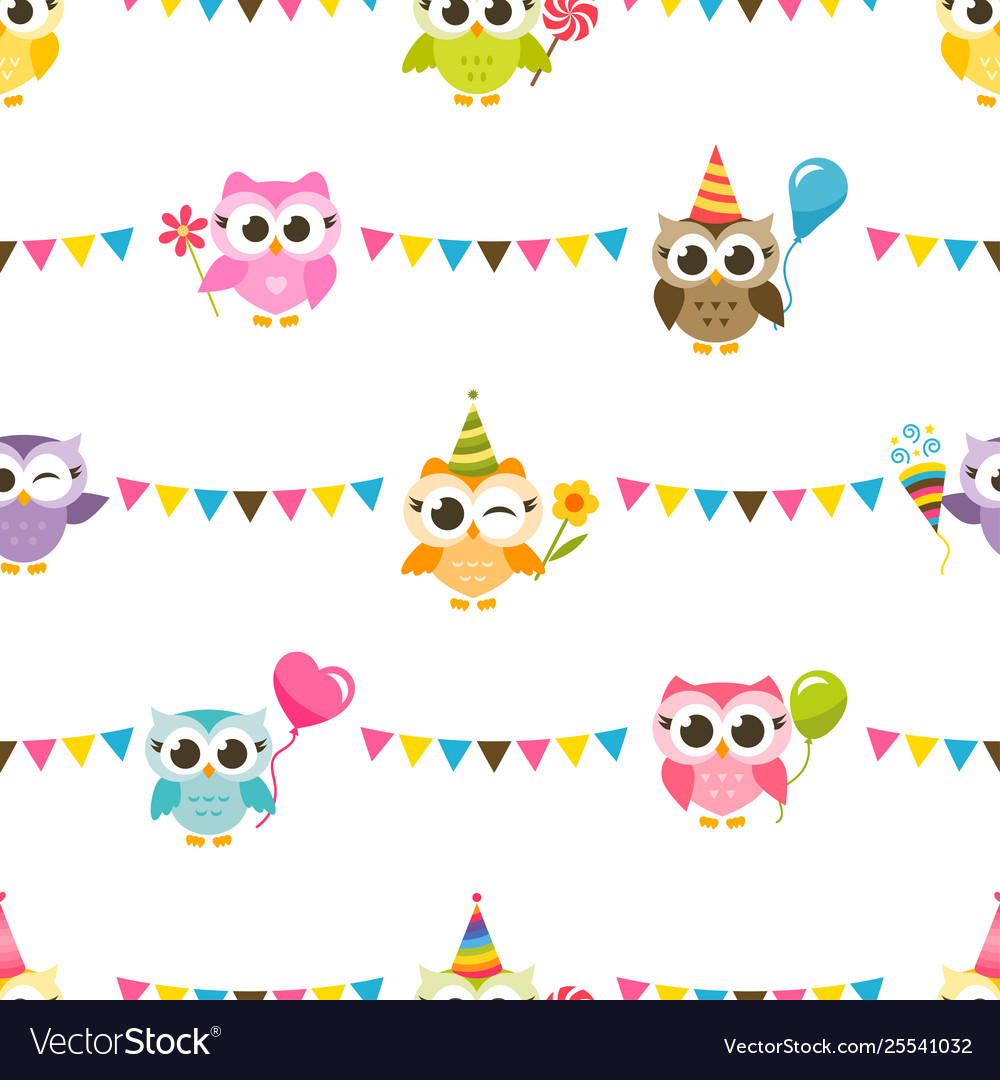 Pattern with owls with birthday party hats and