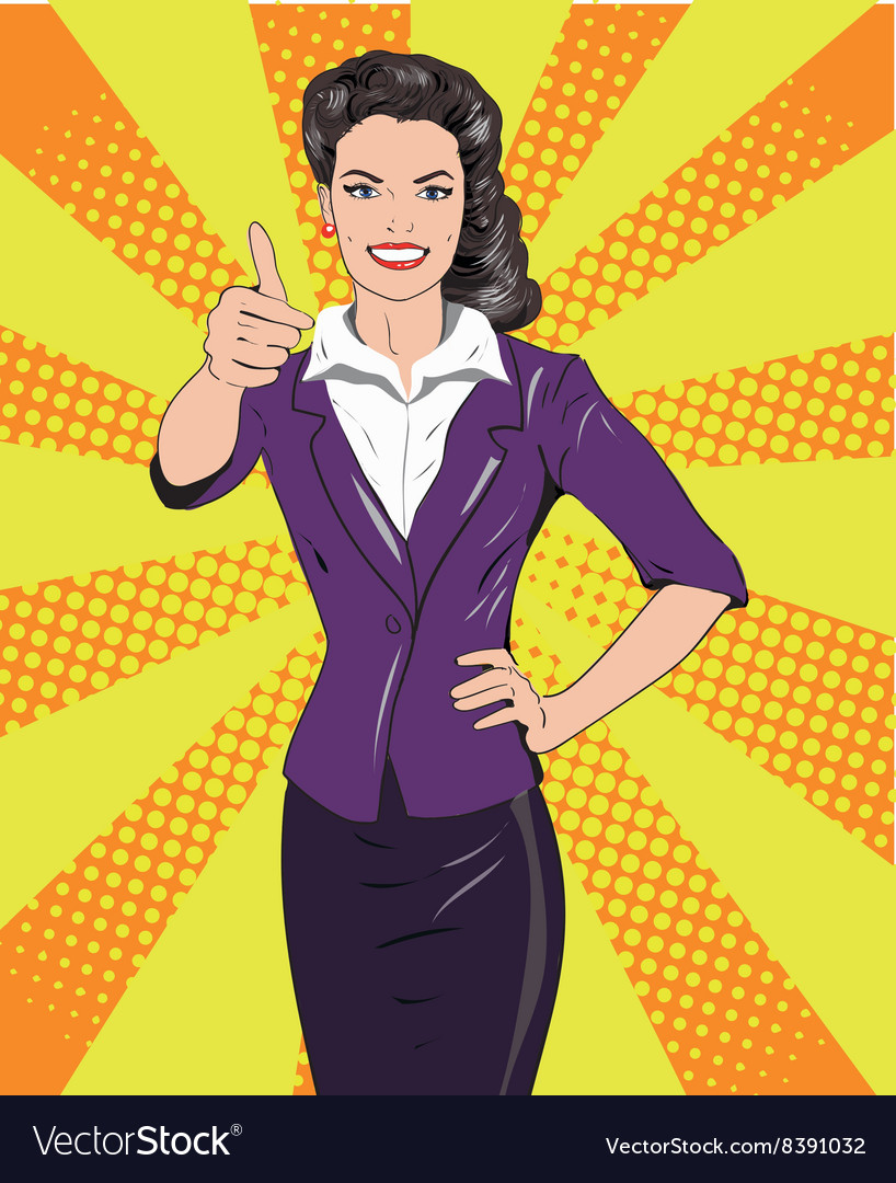 Pop art retro style woman showing thumb up hand