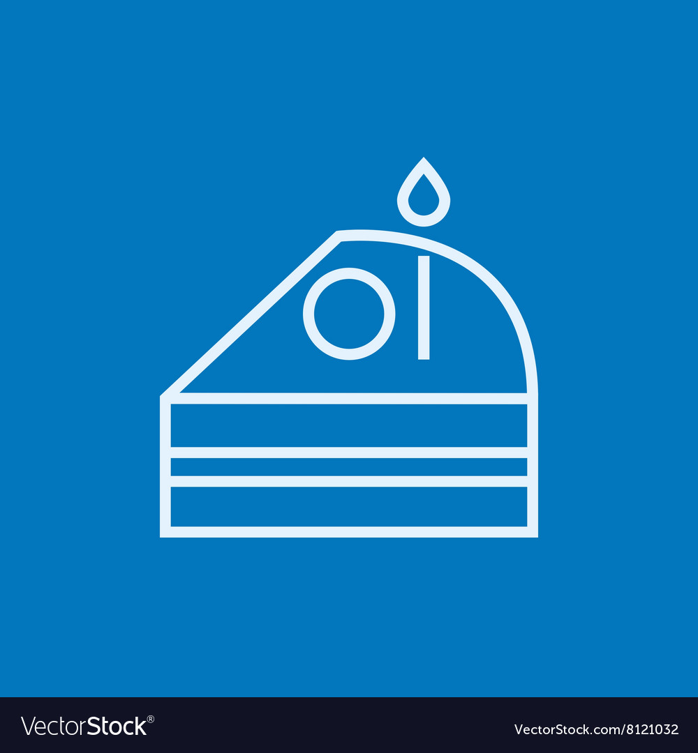 Slice of cake with candle line icon