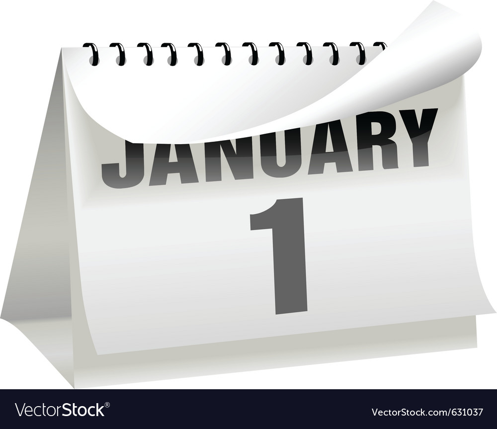 A new years day calendar turns a page to change th