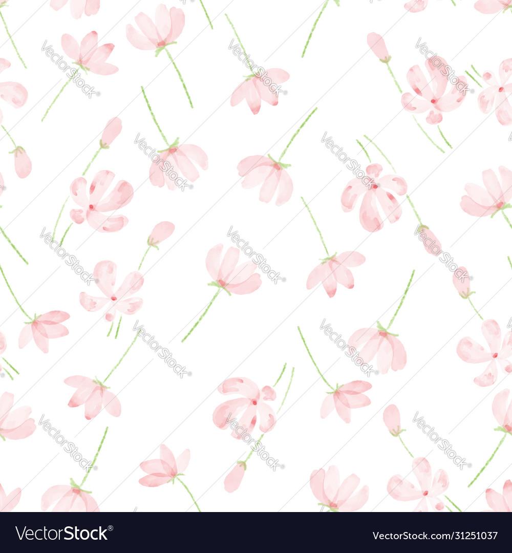 Beautiful watercolor pink cosmos seamless pattern