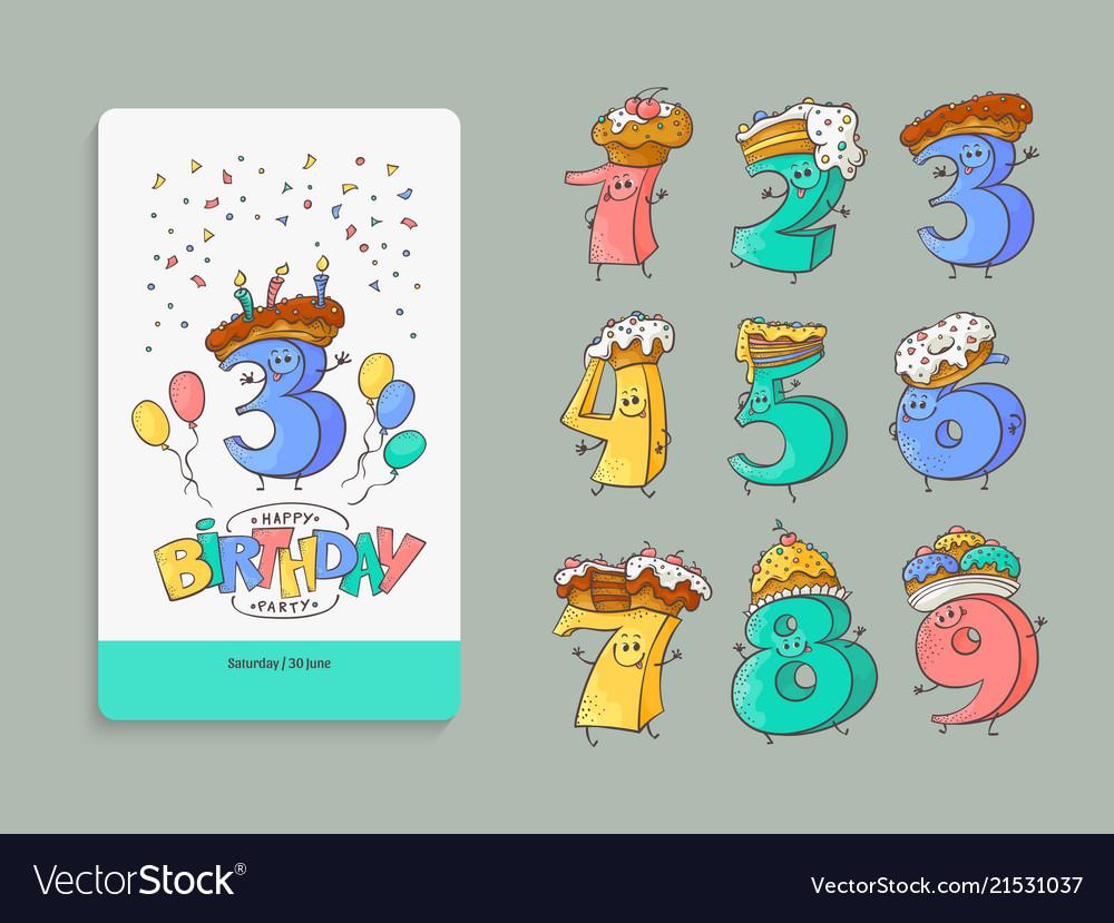 Birthday anniversary numbers cartoon characters