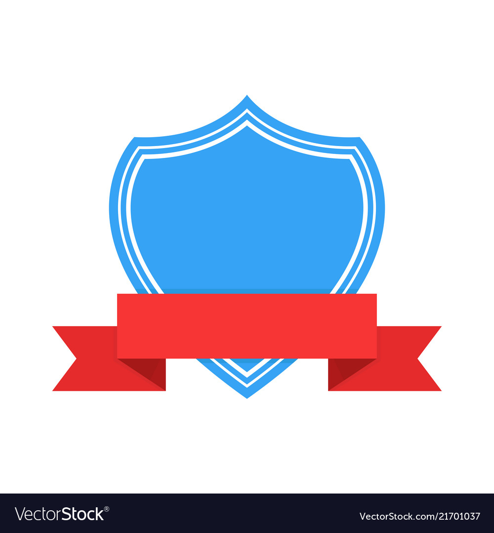 Blue emblem with red ribbon banner