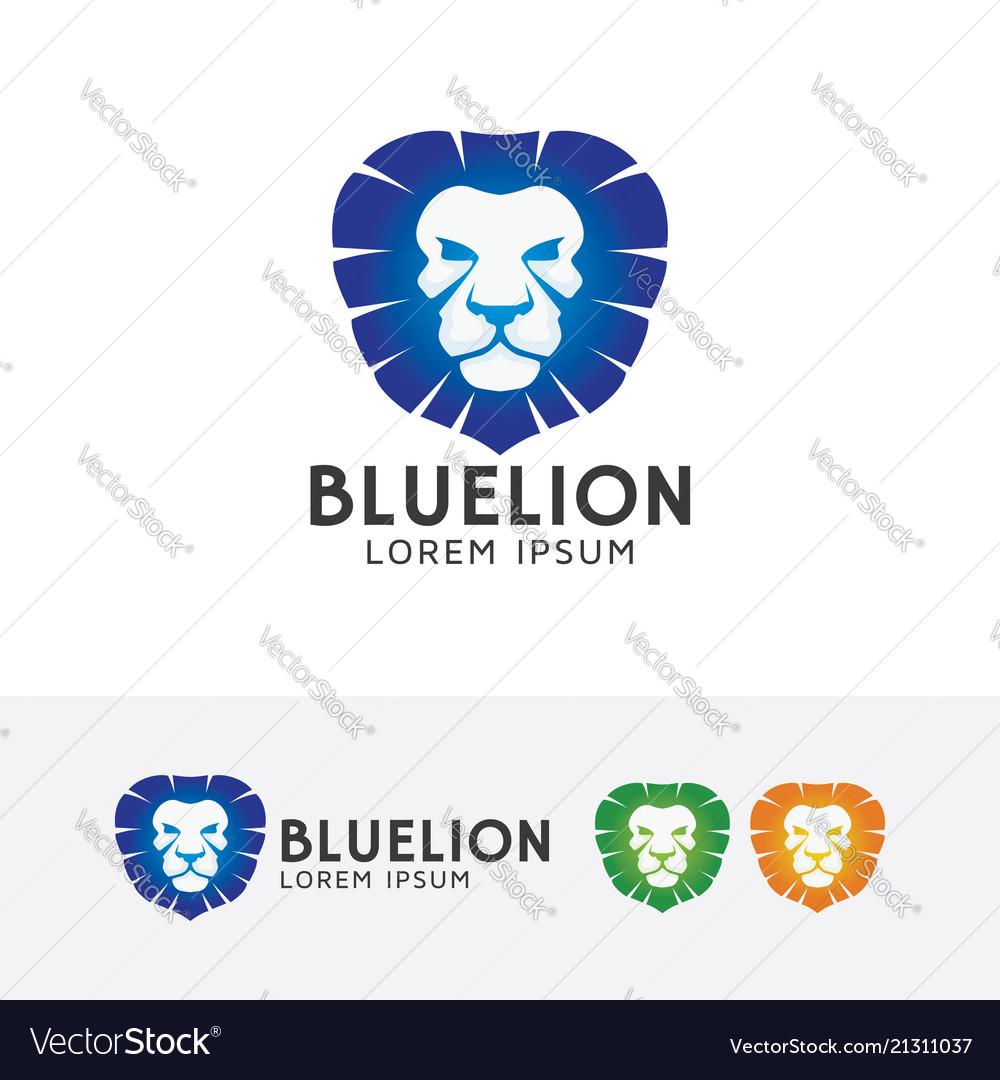 Blue lion logo design