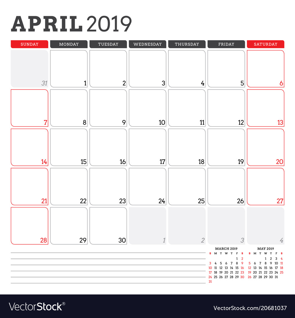 Calendar Planner For April 2019 Week Starts On