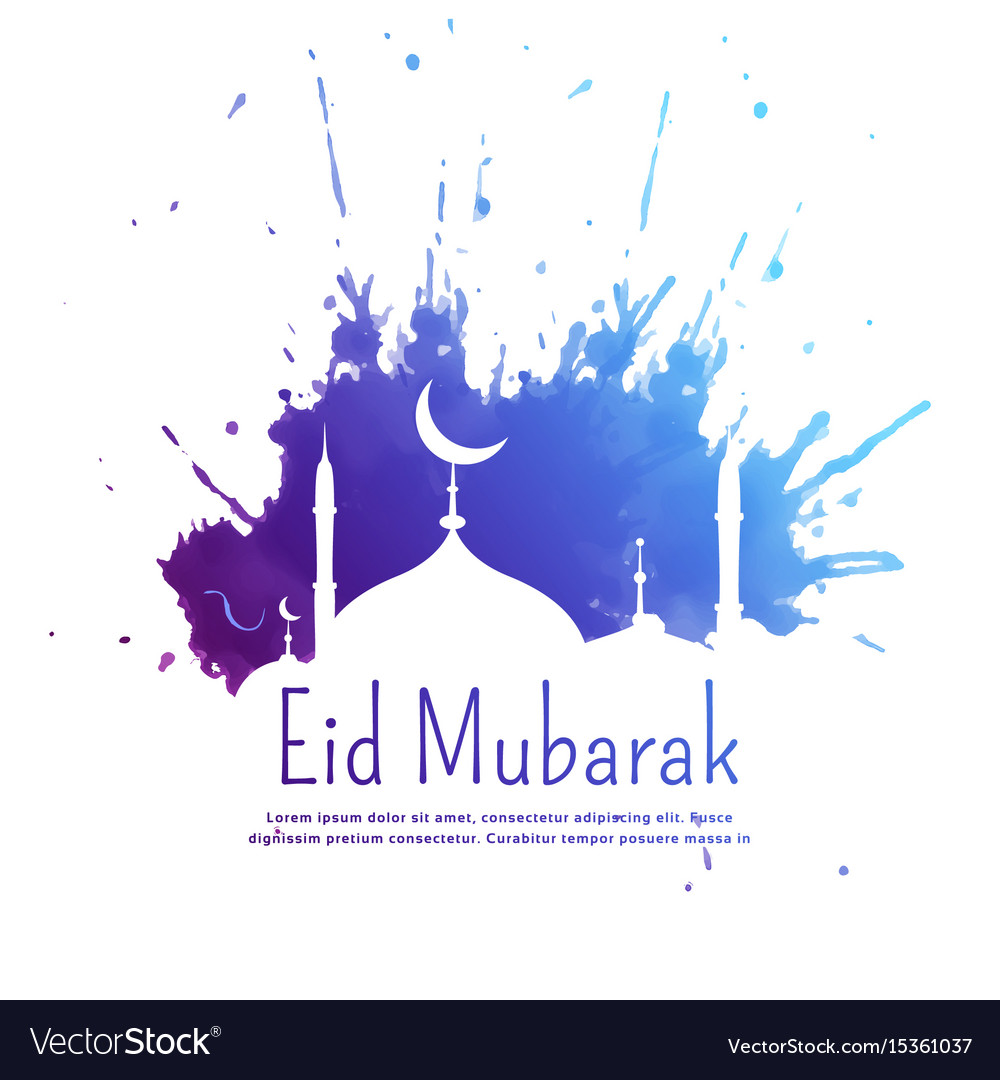 Eid Mubarak Greeting With Blue Ink Splatter And Vector Image