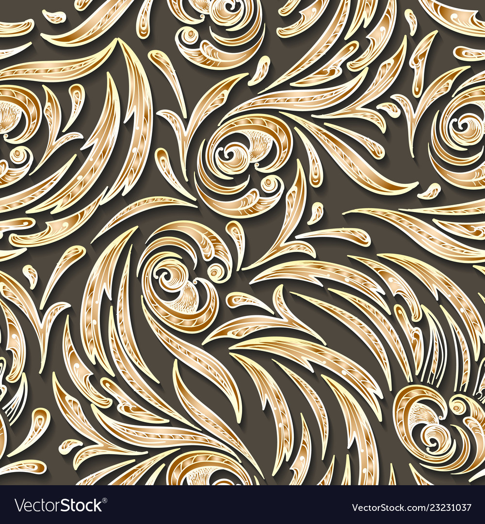 Golden swirls seamless pattern