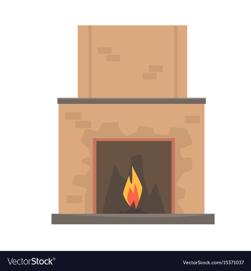 Home fireplace with fire