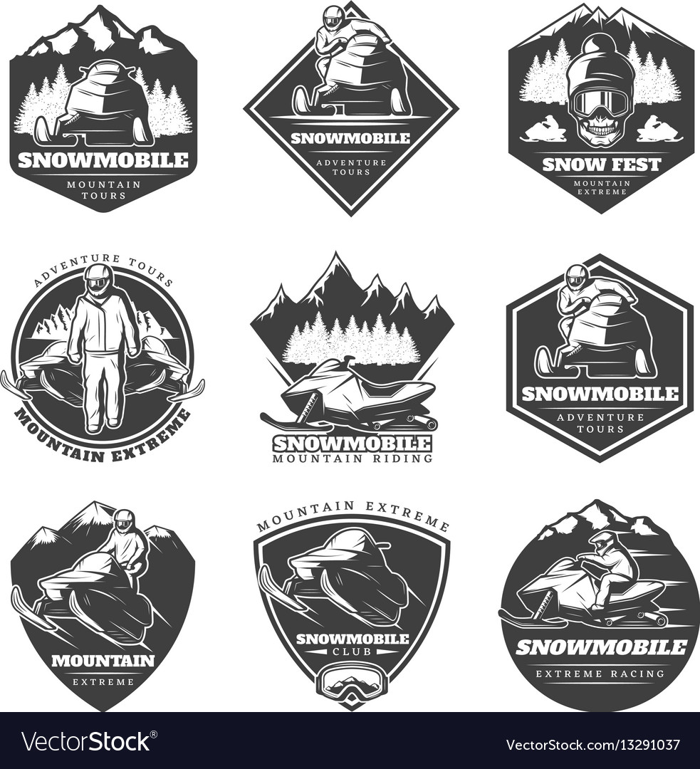 Monochrome winter sport extreme labels set
