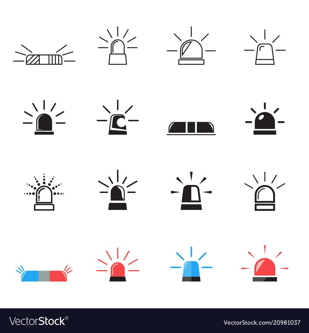 Police ambulance car light flashing icons