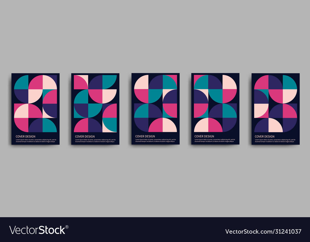 Retro geometric covers design set 70s