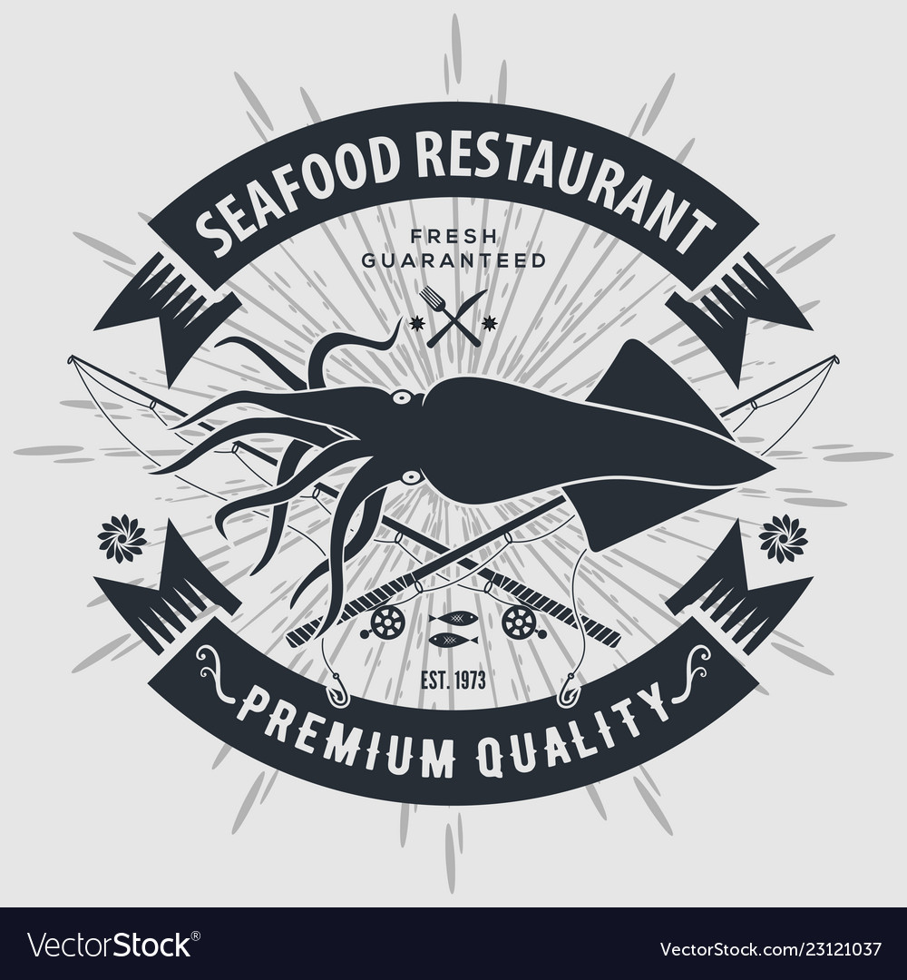 Seafood Restaurant Logo With Squid Royalty Free Vector Image