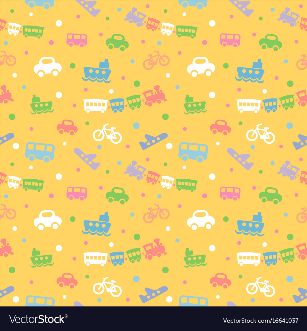 Seamless pattern with cute baby toys
