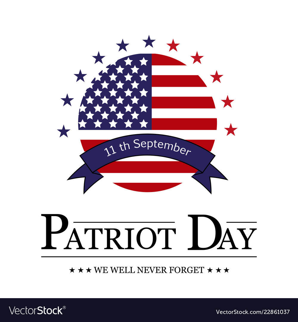 Sign patriot day on white background