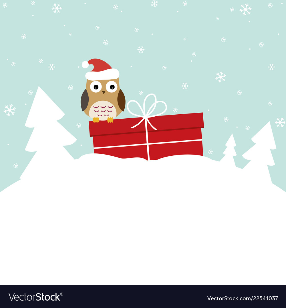 Winter card with sweet owl