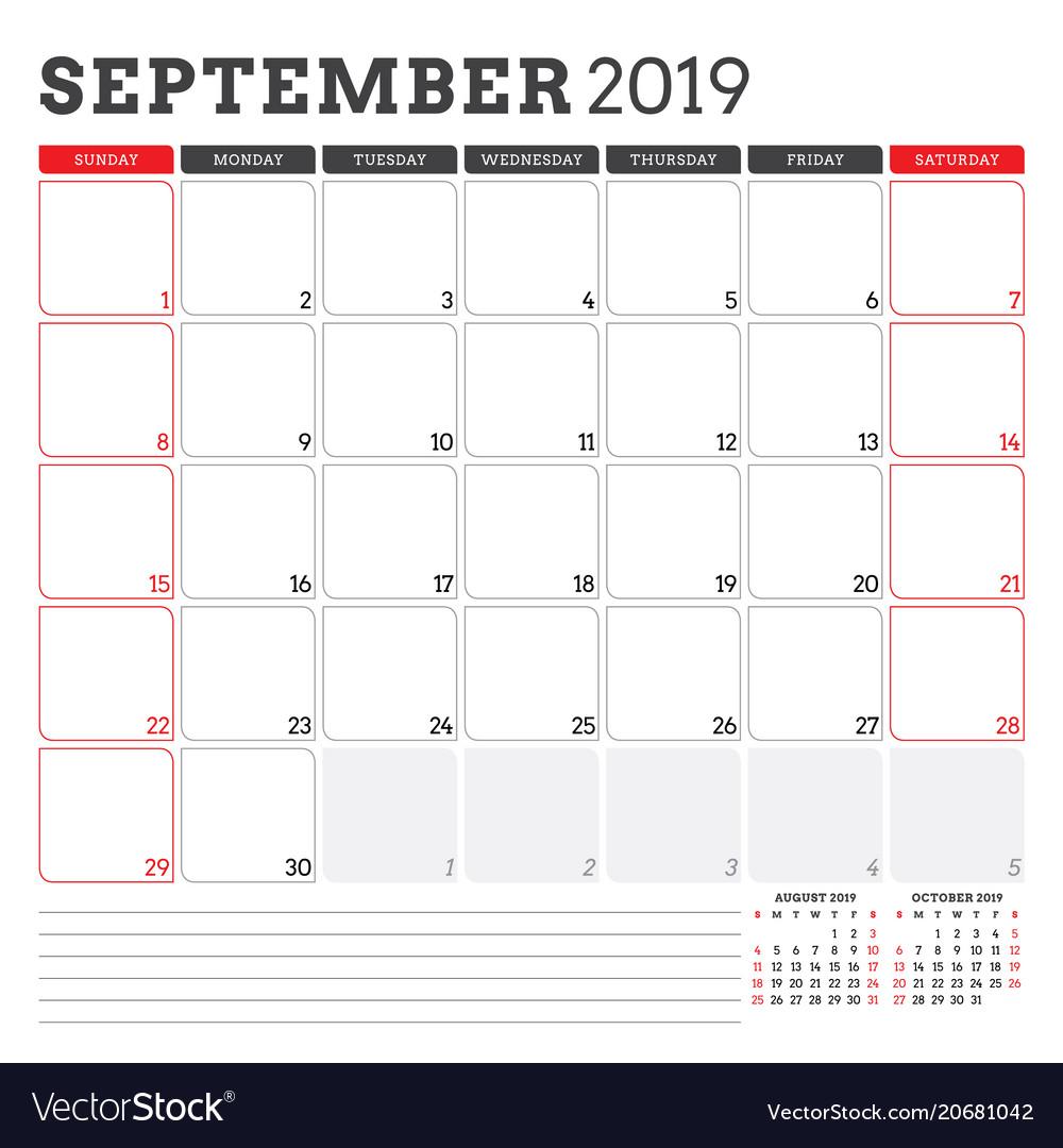 Calendar Planner September 2019.Calendar Planner For September 2019 Week Starts